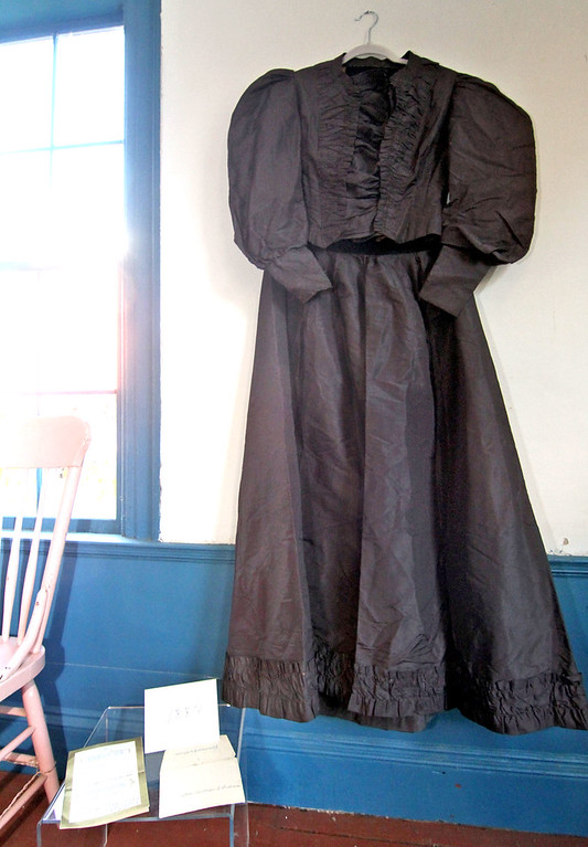 . One of the oldest wedding dress on display at the Garrison House in Chelmsford, shown here is the dress of Lizzie MacDonald who married William Cachran in 1887. SUN/David H. Brow