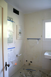 Bathroom: toilet removed, ceiling repainted