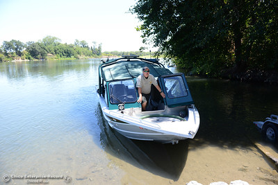 Butte County Sheriff's Office Deputy Heath Rasmussen says he didn't see anyone cathcing fish, but boaters were staying safe on the water on opening day for salmon fishing, Saturday, July 16, 2016, on the Sacramento River at Irvine Finch boat launch in Hamilton City, California. (Dan Reidel -- Enterprise-Record)