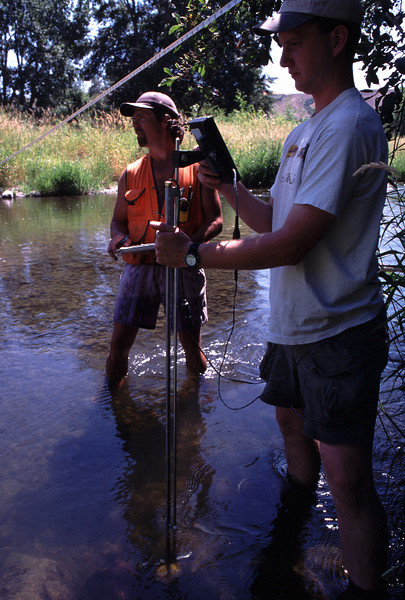 Stream flow measurements on Touchet River.