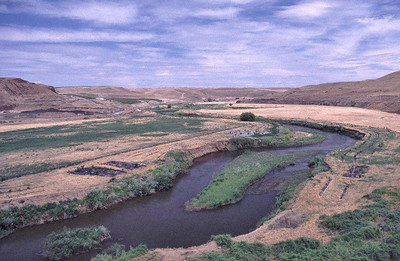 Nine Mile Ranch west of Walla Walla, WA. Riparian plantings for salmon habitat restoration. View upstream. June 17, 2002.