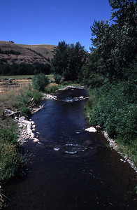 J-hook vanes made by placing rocks in a configuration that enhances salmon habitat on the North Fork Touchet River.