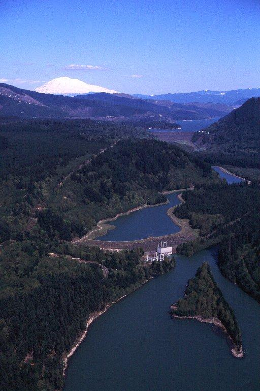 Swift Dam on the Lewis River with Mount St. Helens in the background.