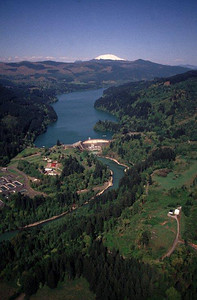 Merwin Dam on the Lewis River with Mount St. Helens in the background.