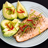 Salmon with limey spicy avocado