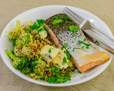 Monday dinner. Baked salmon with quinoa.