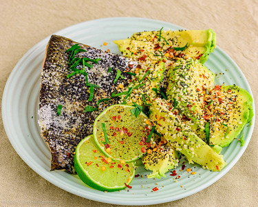 Monday dinner. Baked salmon with avocado.