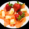 Coon cheese, smoked salmon and strawberries