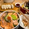Seared salmon and avocado and salad