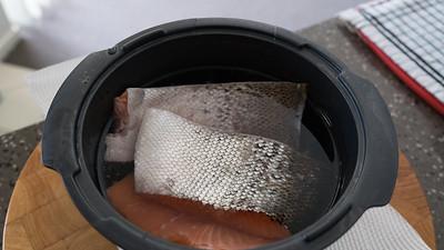 Salmon in brining water