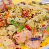 Salmon and stir-fried coleslaw with creamy cauliflower sauce