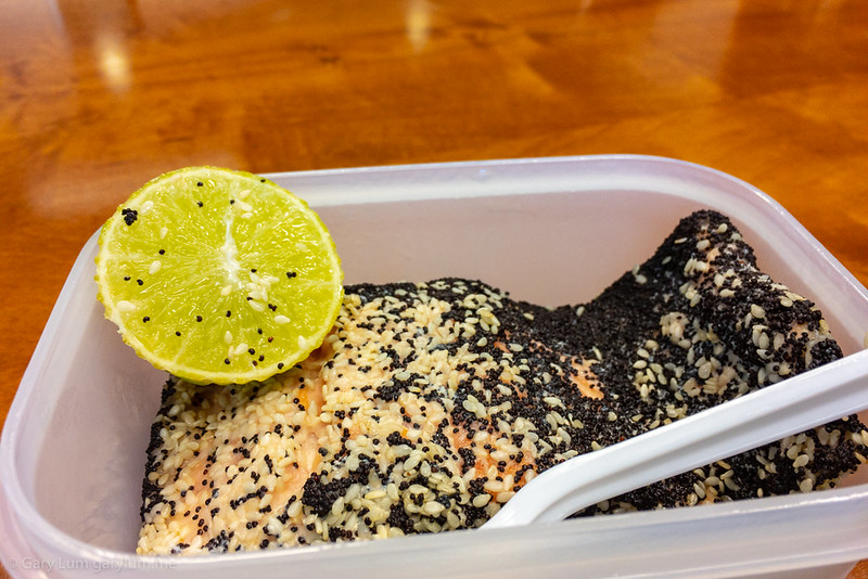 Tuesday lunch. Seed crusted leftover salmon.
