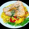 Salmon with cheesy crispy noodles