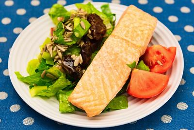 Salmon and salad
