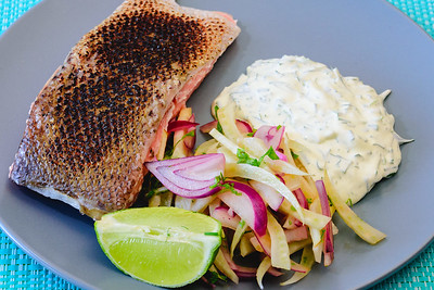 Saturday dinner. Sous vide salmon, fennel salad with dill and chive sour cream.
