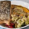 Crispy skinned salmon with cheesy cream cauliflower, pumpkin and broccoli