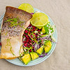 Sunday dinner. Baked salmon with fennel and pomegranate salad.