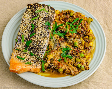 Tuesday dinner. Baked salmon with leftover quinoa and blue cheese.