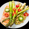 Spicy baked salmon with asparagus and balsamic avocado<br /> #dinner #yummylummy #foodporn #yummy #delicious #instafood #nikon