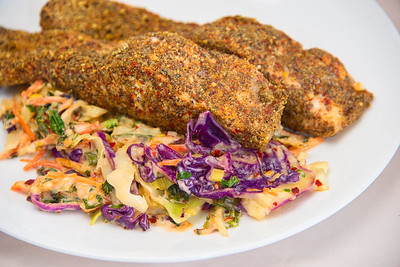 Chilli crusted salmon with stir-fried kale coleslaw with horseradish cream