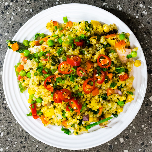 Salmon and pearl barley couscous