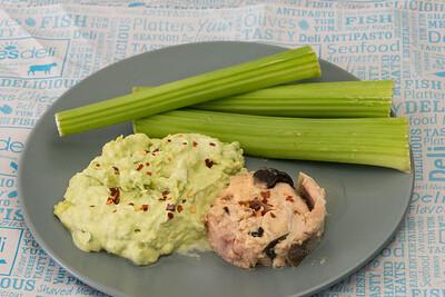 Smashed avocado, tinned salmon and celery