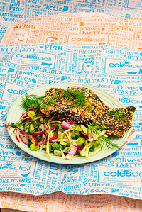 Monday dinner. Baked poppy and sesame seed, chilli crusted salmon and lime flavoured fennel and radish salad.