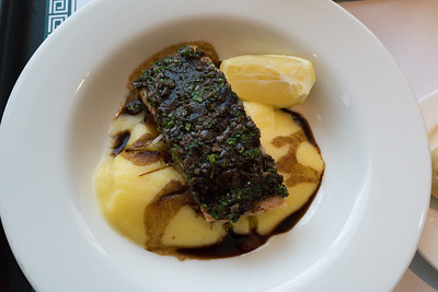 Saturday dinner. Grace Hotel olive oil poached salmon with mashed potato and hot chips.