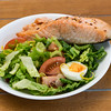 Baked salmon with salad