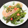 Baked salmon with asparagus and baby broccoli