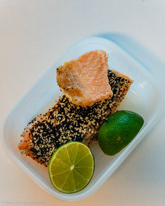 Tuesday lunch. Leftover salmon and lime.