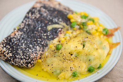 Tuesday dinner. Baked salmon with cheesy peas and corn.