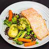 Salmon with crunchy quinoa rice and vegetables