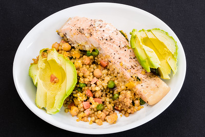 Portion control. Baked salmon with pearl barley couscous and avocado. #dinner #yummylummy #foodporn #yummy #delicious #instafood #nikon