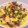 Stir-fry salmon and creamy spicy nutty vegetables