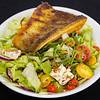 Crispy skin salmon with fresh tomatoes and Lyme