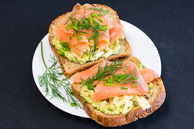 Toasted salmon and avocado sandwich