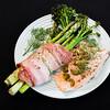 Baked salmon, streaky bacon, baby broccoli, asparagus and pickled jalapeño peppers #dinner #yummylummy #foodporn #yummy #delicious #instafood #nikon