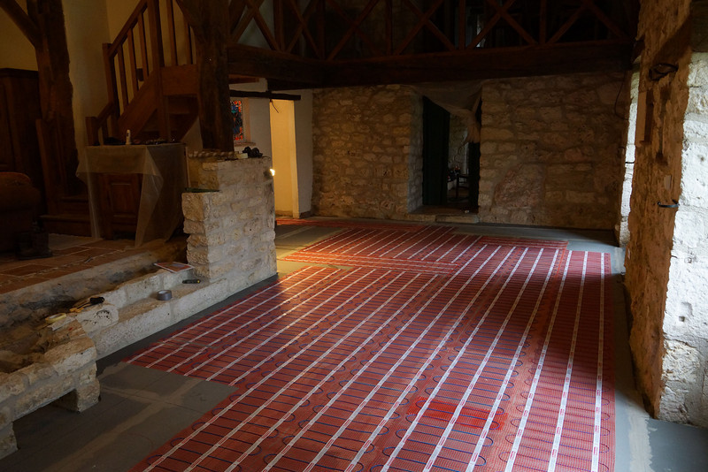 Leveled the floor, and installed insulation and underfloor heating.