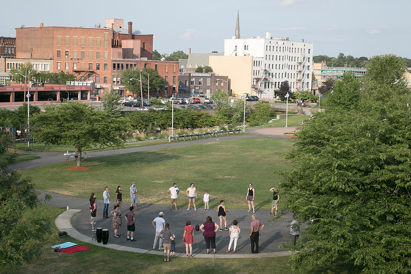 Salsa on the Riverfront is a monthly event series bringing free beginner salsa dance lessons and social dance to downtown Fitchburg at Riverfront Park. July 26, 2019 was the second one of the summer. The class gets under way at the park in the early evening. SENTINEL & ENTERPRISE/JOHN LOVE