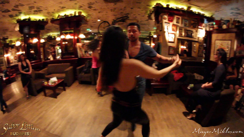 Adrian Tenorio and Gabi Megyesi dancing at the closing party of Sabor Latino Fiesta, Budapest.