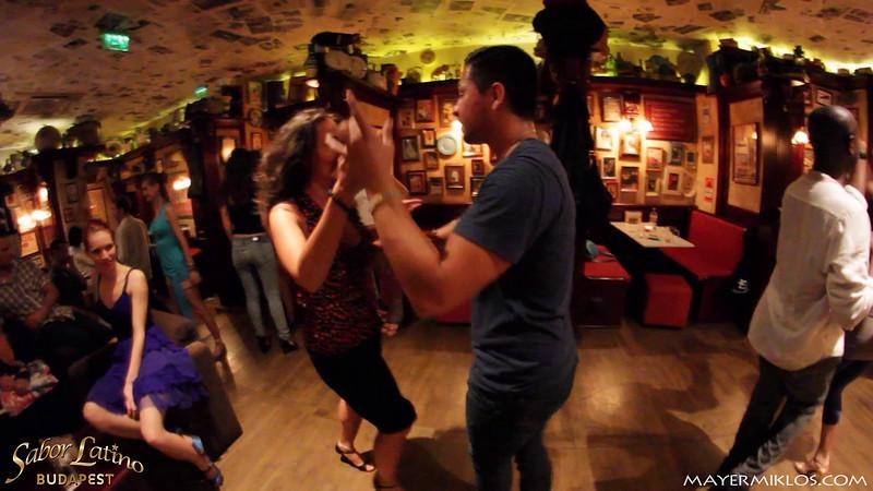 Adrian Tenorio and Adri social dancing at Sabor Latino Festival, Budapest. Location: Café Jubilee