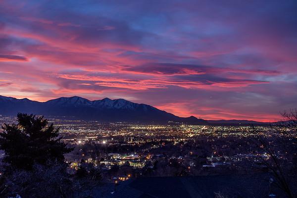 Pink Sky Over Salt Lake