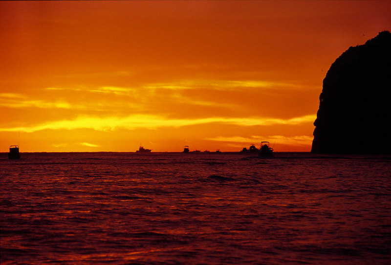 Scenic sunrise with boats, Cabo San Lucas Mexico, Blue Water Fly Fishing