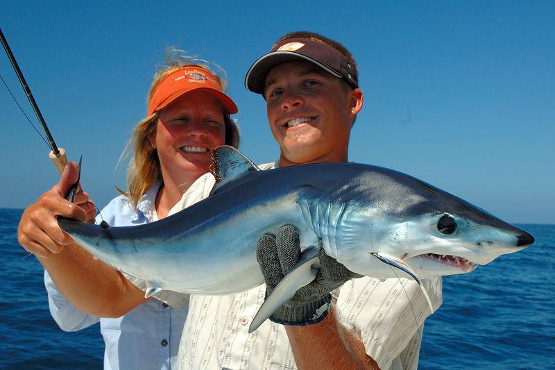 Mako Shark, Wendy Gunn and Capt Dave Trimble, San Diego CA Blue Water Fly Fishing