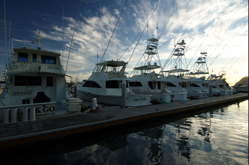 Scenic, Boats in Harbor, Cabo, Blue Water Fly Fishing