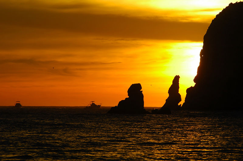 Scenic Sunrise with boats, Cabo San Lucas Mexico Blue Water Fly Fishing
