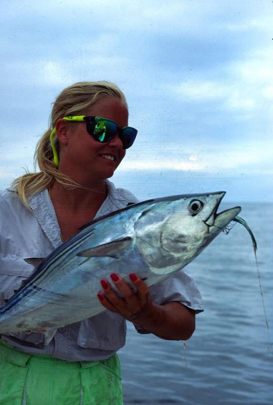 Wendy Gunn with Black Skipjack Tuna, Fly Fishing Mexico Blue Water Fly Fishing
