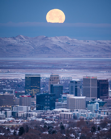 Moonset Over Salt Lake City II