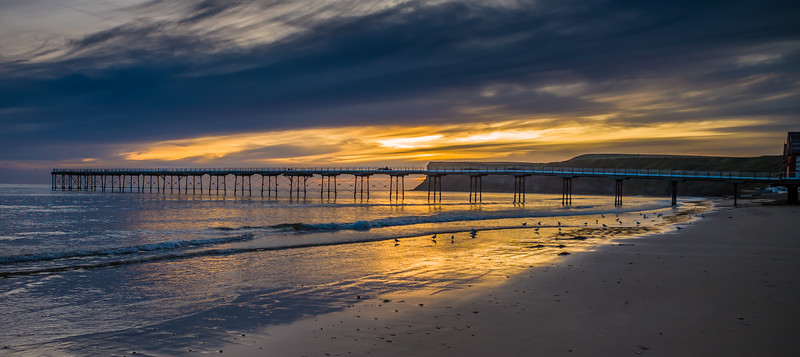 Sunrise over Saltburn pier